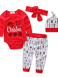 Girls' Geometic Print Sets,Cotton Polyester Fall All Seasons Long Sleeve Clothing Set