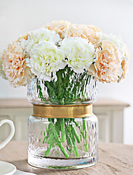 6 Heads/Branch White and Pink Carnations Artificial Flowers Home Decoration