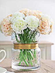 abordables -6 têtes / branche blanc et rose oeillets fleurs artificielles décoration de la maison