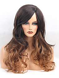 cheap -Women Synthetic Wig Capless Long Wavy Dark Brown/Medium Auburn Side Part Ombre Hair With Bangs Natural Wigs Costume Wig
