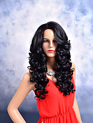 cheap -Women Synthetic Wig Capless Long Body Wave Deep Wave Black Side Part African American Wig Middle Part Party Wig Celebrity Wig Halloween