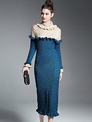 baratos -Mulheres Algodão Bainha / Tricô Vestido Estampa Colorida Gola Alta Médio