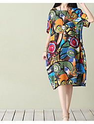 cheap -Women's Daily Loose Dress,Print Round Neck Knee-length Short Sleeves Cotton Summer Mid Rise Micro-elastic Thin