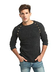 cheap -Men's Work Punk & Gothic Street chic Long Sleeves Rabbit Fur Pullover - Solid Colored Round Neck