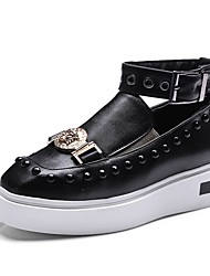 cheap -Women's Shoes PU Spring Fall Comfort Sneakers Flat Heel Square Toe Rivet Buckle For Outdoor Office & Career Blushing Pink Black