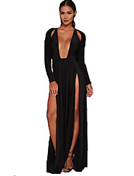 Women's Party Beach Holiday Going out Sexy Vintage Simple Sheath Swing Dress,Solid Deep U Maxi Long Sleeves Polyester Nylon Others All