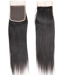 top 7a cheveux bruns vierges 10-20 pièces de fermeture en dentelle supérieure taille droite 4x4 couleur naturelle fermeture gratuite