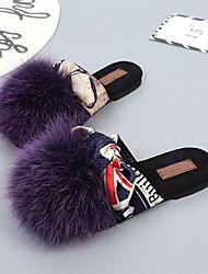 Femme Chaussures Laine synthétique Automne Hiver Confort Moccasin Chaussons & Tongs Talon Plat Bout rond Noeud Ruban Pom pom Pour