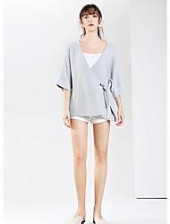 Standard Cardigan Da donna-Casual Semplice Tinta unita A V Mezza manica Cotone Autunno Medio spessore Media elasticità