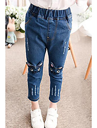 cheap -Girls' Embroidered Jeans,Cotton Spring Blue