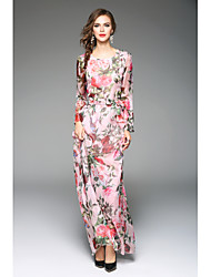 cheap -Women's Going out Swing Dress,Floral Round Neck Maxi Long Sleeves Silk Polyester Spring High Rise Inelastic Thin