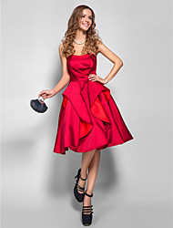 cheap -A-Line Strapless Knee Length Satin Cocktail Party / Prom Dress with Pleats by TS Couture®