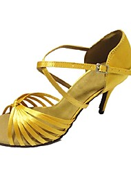 "Women's Latin Satin Sandal Heel Professional Buckle Customized Heel Yellow 1"" - 1 3/4"" 2"" - 2 3/4"" 3"" - 3 3/4"" 4"" & Up Customizable"