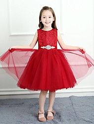 cheap -A-Line Knee Length Flower Girl Dress - Lace Satin Tulle Sleeveless Jewel Neck with Buttons Sash / Ribbon by LAN TING BRIDE®