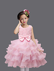 Princess Knee Length Flower Girl Dress - Organza Satin Sleeveless Jewel Neck with Flower by Bflower