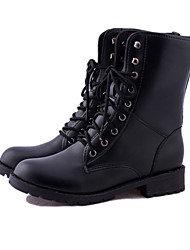 cheap -Women's Shoes PU Winter Combat Boots Boots Flat Heel Booties/Ankle Boots For Casual Black