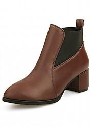 Damen Schuhe Kunstleder Herbst Winter Stiefeletten Komfort Neuheit Stiefel Blockabsatz Spitze Zehe Booties / Stiefeletten Tupfen Für