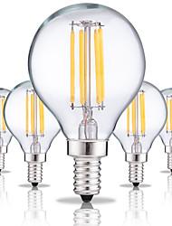 abordables -5pcs 4W 360 lm E14 Ampoules à Filament LED G45 4 diodes électroluminescentes COB Décorative Blanc Chaud Blanc Froid AC 100-240 V