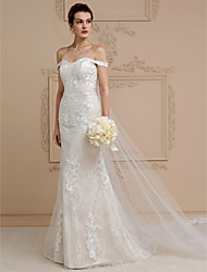 cheap -Sheath / Column Off-the-shoulder Cathedral Train Lace Tulle Wedding Dress with Appliques by LAN TING BRIDE®