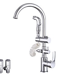 Contemporary Vessel Widespread Rotatable Ceramic Valve Chrome , Kitchen faucet