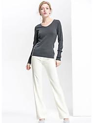 Standard Pullover Da donna-Per uscire Semplice Tinta unita Rotonda Manica lunga Lana Autunno Medio spessore Media elasticità