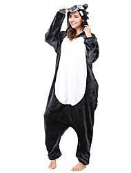 cheap -Kigurumi Pajamas Wolf Onesie Pajamas Costume Flannel Toison Gray Cosplay For Adults' Animal Sleepwear Cartoon Halloween Festival / Holiday
