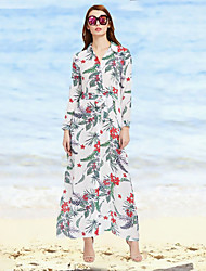 cheap -Women's Daily Holiday Sheath Dress,Floral Shirt Collar Maxi Long Sleeves Polyester Fall High Rise Inelastic Thin