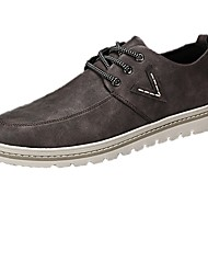 cheap -Men's Shoes PU Spring Fall Comfort Oxfords Lace-up for Casual Black Coffee Khaki