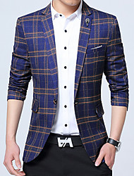 cheap -Men's Work Plus Size Simple Casual Winter Fall Blazer,Plaid Notch Lapel Long Sleeve Regular Cotton