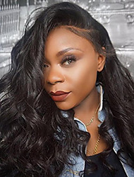 cheap -Women Human Hair Lace Wig Brazilian Human Hair 360 Frontal 130% Density With Baby Hair Natural Wave Body Wave Wig Black Short Medium