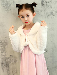cheap -Faux Fur Wedding Party / Evening Kids' Wraps With Pattern / Print Sweetheart Shrugs