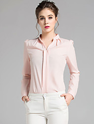 Women's Work Simple Fall Winter ShirtSolid Stand Long Sleeves Polyester Medium