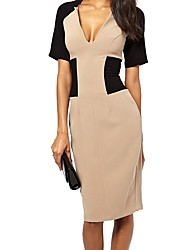 Women's Party Casual/Daily Work Sexy Vintage Bodycon Sheath Dress,Color Block V Neck Knee-length Short Sleeves Cotton Polyester Spandex