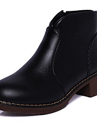 Women's Shoes Rubber Fall Combat Boots Boots Chunky Heel Round Toe For Outdoor Black