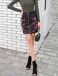 Damen Street Schick Ausgehen Lässig/Alltäglich Über dem Knie Röcke Bodycon,Bestickt Blumen Herbst Winter