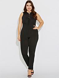 cheap -Women's Plus Size Jumpsuit - Solid Colored, Cut Out Criss-Cross