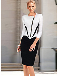 cheap -Women's Work Casual Sheath Knee-length Dress,Color Block Round Neck 3/4 Length Sleeves