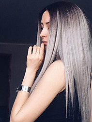cheap -Synthetic Wig Straight Synthetic Hair Ombre Hair / Dark Roots / Middle Part Gray Wig Women's Long Natural Wigs Capless