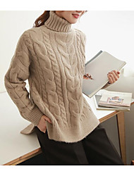 Corto Pullover Da donna-Casual Tinta unita A collo alto Manica lunga Acrilico Autunno Inverno Spesso Media elasticità