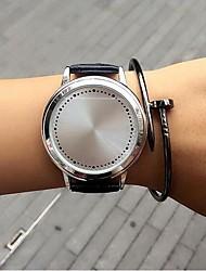 abordables -Hombre Mujer Cuarzo Reloj de Pulsera Gran venta Piel Banda Casual Reloj creativo único Moda Negro