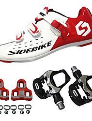 cheap -SIDEBIKE Adults' Cycling Shoes With Pedals & Cleats / Road Bike Shoes Carbon Fiber Cushioning Cycling Red and White Men's