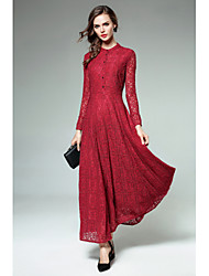 Women's Party Going out Sexy Simple Sheath Lace Dress,Solid Round Neck Maxi Long Sleeves Rayon Fall Winter High Rise Micro-elastic Medium