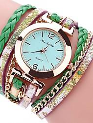 abordables -Femme Bracelet de Montre Bracelet Montre Chinois Quartz Chronographe Etanche Polyuréthane Bande Rétro Créatif Décontracté Elégant Noir