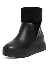 Women's Shoes Leatherette Winter Snow Boots Boots Creepers Round Toe Booties/Ankle Boots Split Joint Ruched For Casual Dress Black White
