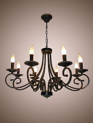 Country Simple Candle Chandelier Iron Art Vintage Living Room Dining Room Lamp LED Home Lighting