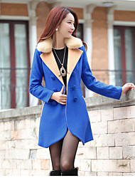 Women's Casual/Daily Simple Fall Winter Coat,Solid Shirt Collar Long Sleeve Long Polyester Fur Trim