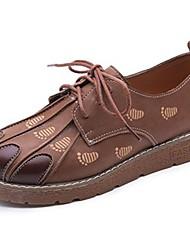 Feminino Sapatos Couro Ecológico Outono Conforto Oxfords Rasteiro Ponta Redonda Cadarço Para Casual Preto Marron Verde Escuro