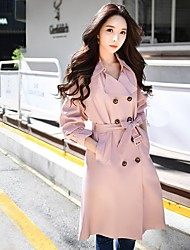 DABUWAWA Women's Going out Work Vintage Street chic Sophisticated Fall Winter CoatSolid Shirt Collar Long Sleeve Long Polyester
