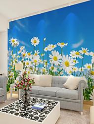 Недорогие -Цвет неба Цветы Природа и пейзажи Обои Для дома Пастораль Стиль Облицовка стен , Холст материал Клей требуется фреска , Обои для дома