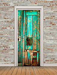 cheap -3D Bright Blue Wooden Door Mural Sticker Decorative 3D Wooden Painting Door Stickers Mural Large Size 77*200cm For Living Room Home Decoration